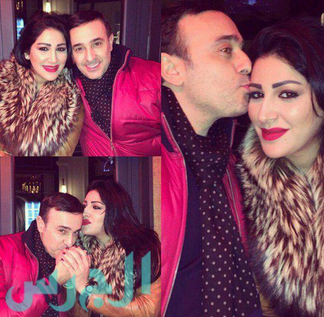 صور قبلات صابر الرباعي لزوجته في احتفالهم بعيد ميلادها 2015