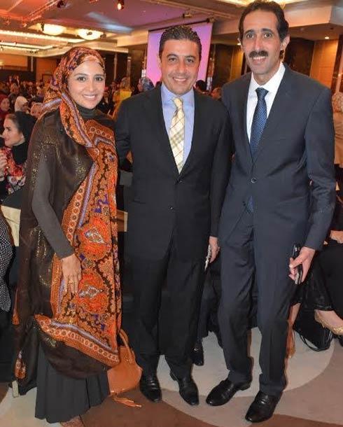حنان ترك وزوجها مع الإعلامي مجدي الجلاد